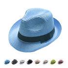 Unisex Women Men Fashion Summer Beach Sun Topee Straw Cap Fedora Trilby Hat