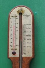 VINTAGE A COMITTI AND SON WALNUT STICK BAROMETER THERMOMETER
