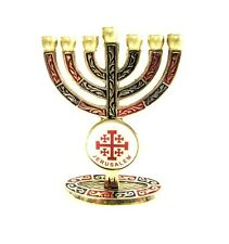 Holy land copper brass hand painted Menorah with Jerusalem cross, made in Israel