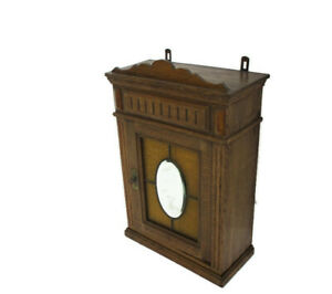 Kitchen Apothecary Bathroom Pharmacy Cabinet Amber Bubbled and Leaded Glass