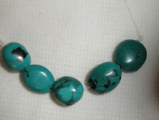 5 Rough Cut Fat Oval Turquoise Nugget Beads Natural Color  Craft Jewelry  # 954