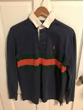 Polo Ralph Lauren Mens Rugby Pony Shirt Blue Green Orange Stripe Small S