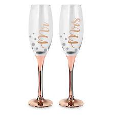 Liquid Therapy Rose Gold Stem Wedding Mr & Mrs Champagne Glass by Landmark