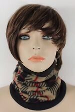 Women Scarf Turtle Neck Warmer Head Cover Outdoor Face Mask Sport Beige Squares