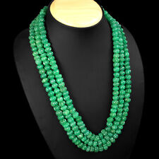 TRUELY 623.00 CTS NATURAL 3 LINE GREEN EMERALD CARVED BEADS NECKLACE  - GEM EDH