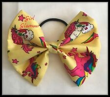 "5"" Hair Tie Bow - Yellow Rainbow Unicorn Fabric - Headband Bandana Dress Band"