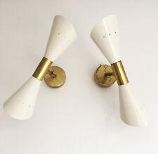 Magnifique paire d'appliques flûte de design 60s Stilnovo style wall sconces