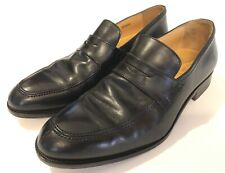 Saks Fifth Avenue Trevor Italian Leather Black Penny Loafers Split Toe • Men's 8