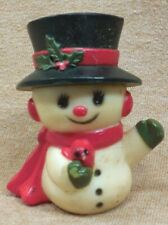Vintage 1970's Hallmark Snowman With Red Bird Merry Miniatures Figure