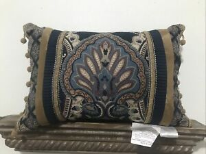 "Croscill Aurelio Boudoir Pillow Blue and Gold 19""x12"""