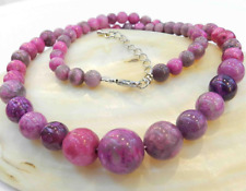 6-14MM PINK CRAZY LACE AGATE AGATE ROUND BEADS NECKLACE 18""