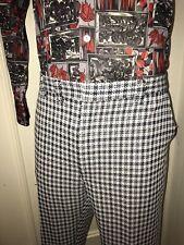 Vtg 60s 70s Mens 40 30 White Black Gray Plaid Disco Leisure Suit Pants Polyester