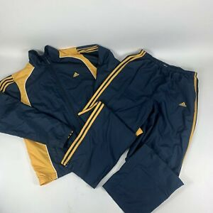 Adidas Men's Tiro Tracksuit Jacket Lg and Pants Med Set Blue/ Yellow Collar Zip