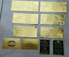 7 BANCONOTE $ DOLLAR D'ORO E LINGOTTO 24KT CERTIFICATO LOT BANKNOTES INGOT GOLD