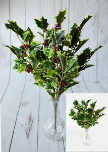 Christmas Faux VARIEGATED or GREEN Holly Bunch x 8 stems decorations displays