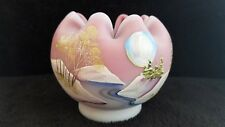Fenton JK SPINDLER Hand Painted BLUE MOON  Burmese Rose Bowl - QVC -  NUMBERED