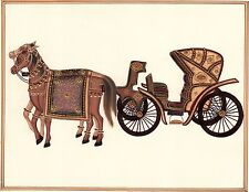 Indian Miniature Painting Handmade Rajasthani Ethnic Horse Chariot Paper Art