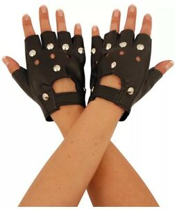 FINGERLESS STUDDED FAUX LEATHER BIKER PUNK CYCLING DRIVING GLOVES