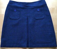 M&S Size 16 BLUE AND BLACK SKIRT Wool Blend - fully lined - knee length