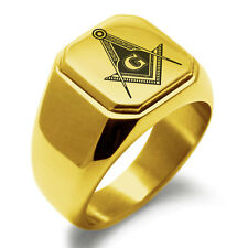 Mens Square Biker Style Signet Ring Stainless Steel Masonic Royal Compass Square