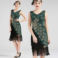 US STOCK Vintage 1920s Vintage Peacock Sequined Dress Gatsby Fringed Flapper Dre