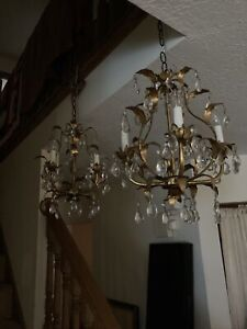 "Vintage Italian Chandelier Gold Gilt 4 Light Crystals Toleware 16""pair Available"