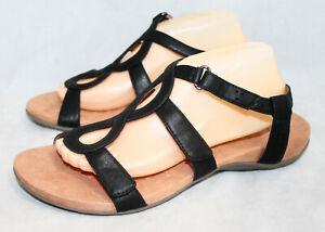 NWOB VIONIC Jodie Adjustable Strappy Slingback Sandal Women 11W Black Faux Lthr