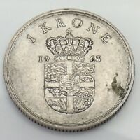 1963 Denmark Danmark 1 One Krone Circulated Danish Coin E812