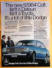 Magazine Print Ad 1977 Dodge Colt