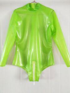 Latex Catsuit Gummi Club Badeanzug Apfelgrün Lange Ärmel Zentai Bodysuit 0,4mm