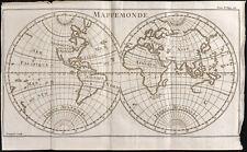 1743 - Carte ancienne du monde : Mappemonde / Antique world map