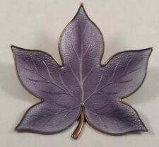 Edelmetall Denmark Sterling Silver Modernist Purple Enamel Leaf Pin Brooch