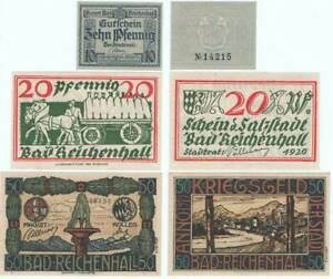 """BAD REICHENHALL 1919/1920: """"Magistrat / Stadtrat"""" , 3x NOTGELD"""