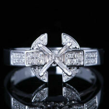 Solid 10k White Gold 7mm Round Diamond Semi Mount Engagement Ring