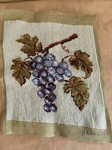 Paragon Needlepoint Grape bunch pillow front purple vintage finished picture