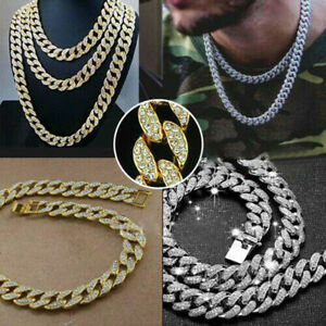"""18"""" 20"""" Mens Boys Hiphop Thick  Necklace Iced Out Chain Diamond Shiny Jewellery"""