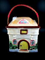 "Vintage Ceramic House Cookie Jar Wicker Handle Japan 6""x5"""
