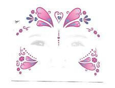 2 x Cute Princess Butterfly Costume Face Temporary Tattoos - Kids Party Favours