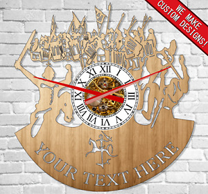 Medieval Soldier Wood clock Real Wood New Best quality Unique design Europe wars