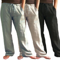 Mens Vintage Casual Cotton Linen Baggy Yoga Training Solid Loose Pants Trousers