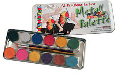 12 er Perlglanz Metall Palette, Eulenspiegel Schminkfarben, Schminke