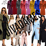 Women Long Duster Jacket Ladies French Belted Trench Waterfall Coat size-8-9590