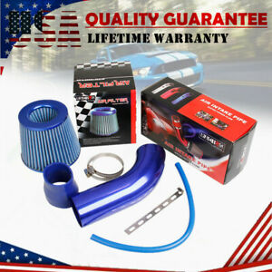 """Cold Air Intake CAI Filter Assembly 3"""" Blue Pipe + Clamp + Kits Flow Hose System"""