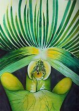 Art Original Watercolor Painting INSIDE A JUICY ORCHID Artist Karin Novak-Neal