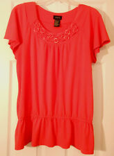 R.Q.T. ORANGE KNIT COTTON TOP BLOUSE SHORT FLUTTER SLEEVES GATHERED RUFFLE WAIST