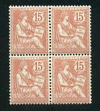 """FRANCE N°125 """"MOUCHON 15c BLOC DE 4"""" TIMBRES NEUFS xx ."""