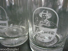 2 Vintage FARMER JOHN BAR GLASSES LOWBALL BACON SAUSAGE JUICE BREAKFAST
