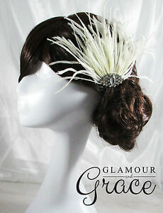 Harmony vintage wedding Gatsby ivory feather fascinator headpiece RRP$80