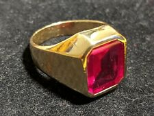 VTG Art Deco Ring 7.37g MEN'S 14k Yellow Gold & Man Made Ruby Size 8 BEAUTY