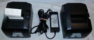 2x Star Micronics TSP650 II TSP654IIBI Thermal Printer + 1x power supply Used